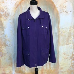 Jones NY Purple Zip Up Jacket w/Pockets Size 2X